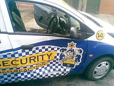 image displays damaged p7p security reaction vehicle
