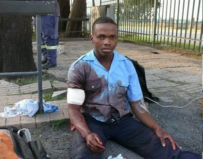 image displays injured p&p security guard