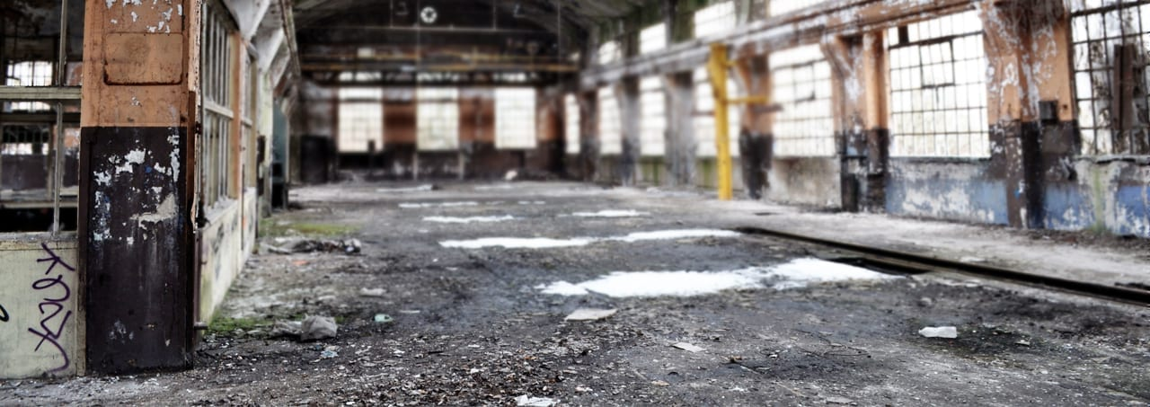 image displays deserted warehouse