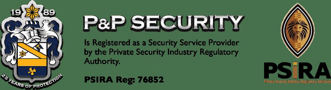 image displays P&P security and PSIRA logo