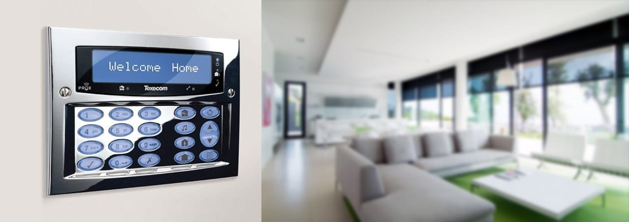 image displays alarm panel mounted agains wall inside house