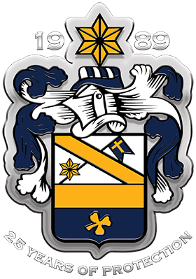 image displays P&P Security family crest